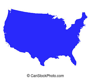 United States of America outline map in blue, isolated on...