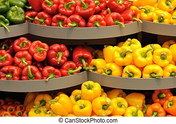 Varicolored pepper - Several pods of varicolored sweet...