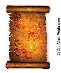 Old scroll paper with dried butterflies. Vector
