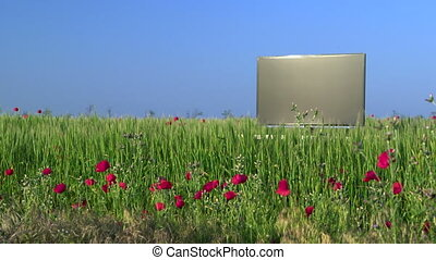 Modern flat screen TV in the green field against blue sky