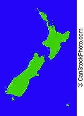 Zealand, nuevo, contorno, mapa
