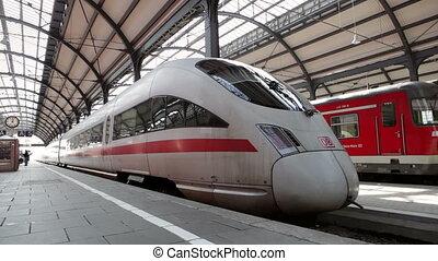 Leaving ICE highspeed train - Wiesbaden, Ge