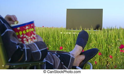Housewife watching television on green meadow