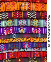 Blankets - Native American Blankets in a market in chiapas,...