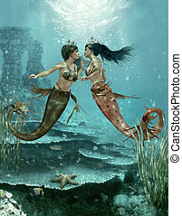 Two Little Mermaids, 3d CG - 3d computer graphics of a two...