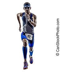 hombre, triatlón, hierro, hombre, Atleta, corredores,...