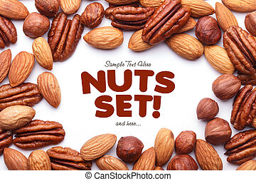 Background texture of assorted mixed nuts including cashew...