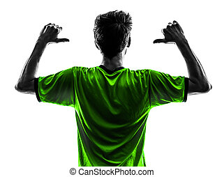 one soccer football player young man rear view portrait pointing in silhouette studio on white background