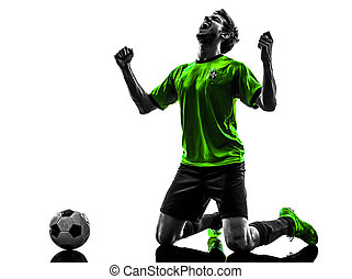 one soccer football player young man happiness joy kneeling in silhouette studio on white background