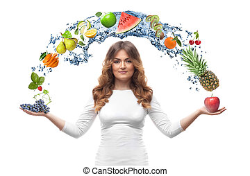 smiling woman with fruits isolated - smiling woman with...