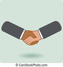 Black and white businessmen handshake - A handshake between...