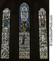 Stained glass window in Wells Cathederal Somerset UK