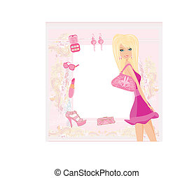 fashion girl Shopping card