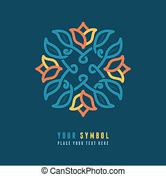 Vector abstract emblem - outline monogram - floral design...