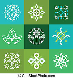 Vector abstract ecology symbols - outline emblems and green...