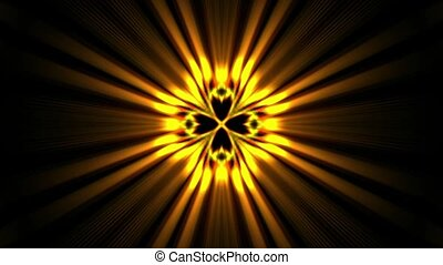 power golden rays laser energy field in space.