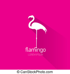 vector stylish flat design flamingo Icon - vector silhouette...
