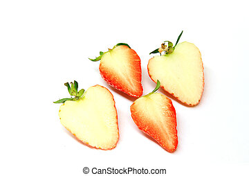 strawberry cutaway view in a white background