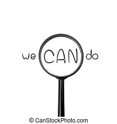 We can do with magnify glass isolated on white background
