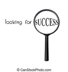 Looking for success with magnify glass isolated on white background