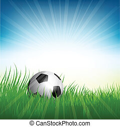 Football or soccer ball nestled in grass - Illustration of a...