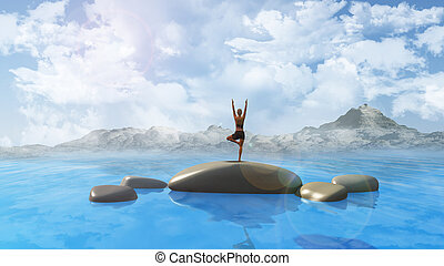 Female in yoga position in ocean - 3D render of smooth rocks...
