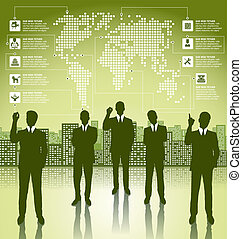 Business Concept Silhouettes With Infographics Earth Map