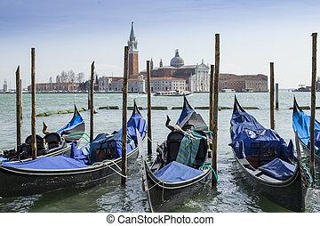 Gondolas in Vernice with San Giorgio di Maggiore church