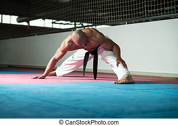 Martial Arts Man In Kimono Exercising Karate - Male Martial...