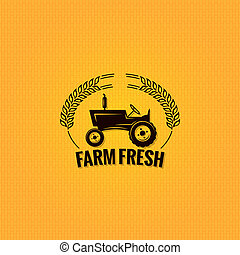 ferme, conception, tracteur, fond