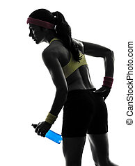 woman exercising fitness holding energy drink silhouette -...