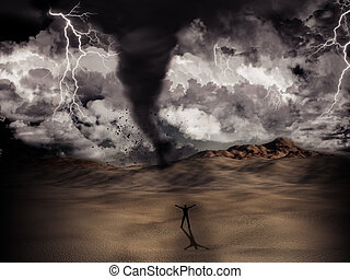 Tornado storm - Silhouette of a man stood in the desert in...