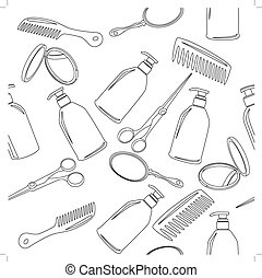 Background with hairdressing accessories