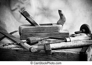 Old Tools - still life with old hammer and carpentry tools