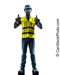 construction worker signaling up silhouette - one...