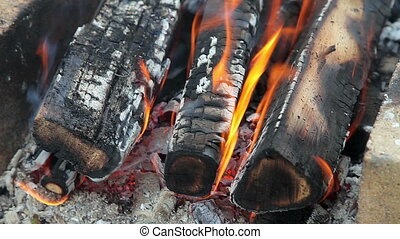 Closeup of a warm fire burning in a
