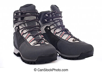 Hiking boots - A pair of hiking boots with soft shadow...