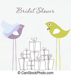 Bridal shower invitation with two cute birds in bride and groom costumes sitting