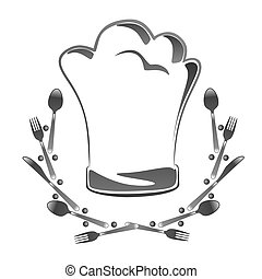 toque - abstract toque with cutlery as sign or metaphor