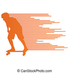 Skateboarder silhouette vector background concept made of stripes for poster