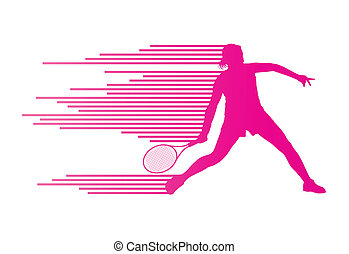 Tennis player abstract vector background concept made of...