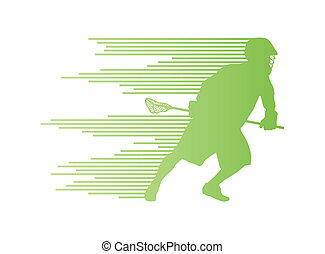 Lacrosse player in action vector background concept made of...