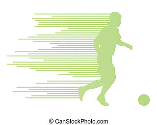 Soccer football player silhouette vector background concept...