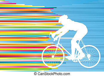 Cyclist vector background concept template made of stripes...