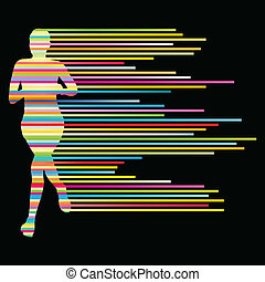 Woman runner silhouette vector background template concept...