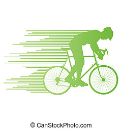 Cyclist vector background concept made of stripes for poster