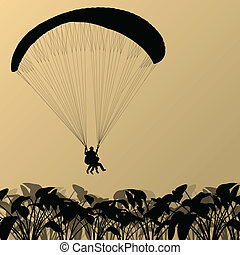 Paragliding active sport background landscape concept vector...