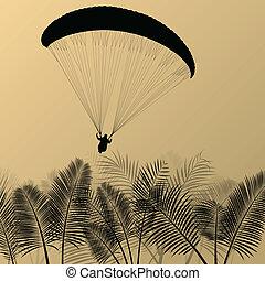 Paragliding active sport background landscape concept vector...