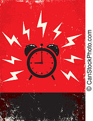poster of alarm clock - Red and black poster of alarm clock...