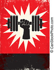 Hand pushing the dumbbell - Red and black poster with hand...